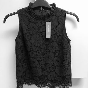 Ann Taylor ruffled neck lace top - NWT